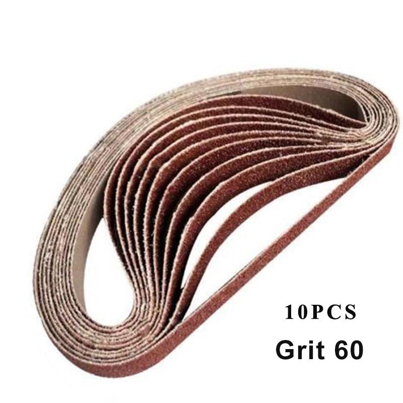 10pcs Sanding Belts 60/120/240/400/600 Grit Sander Adapter Woodworking Polisher