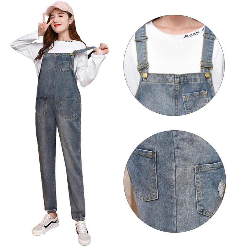 Denim Maternity Jeans Suspender Pants Overalls Braced Jumpsuits for Pregnant Women Uniforms Pregnancy Romper Prop Belly Trousers