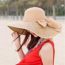 Женская цветная Кепка с большими полями, соломенная шляпа с бантом, широкополая шляпа от солнца, шляпы от солнца, пляжная кепка с защитой от ультрафиолета, кепка для отдыха на открытом воздухе, женская летняя шляпа Gorr