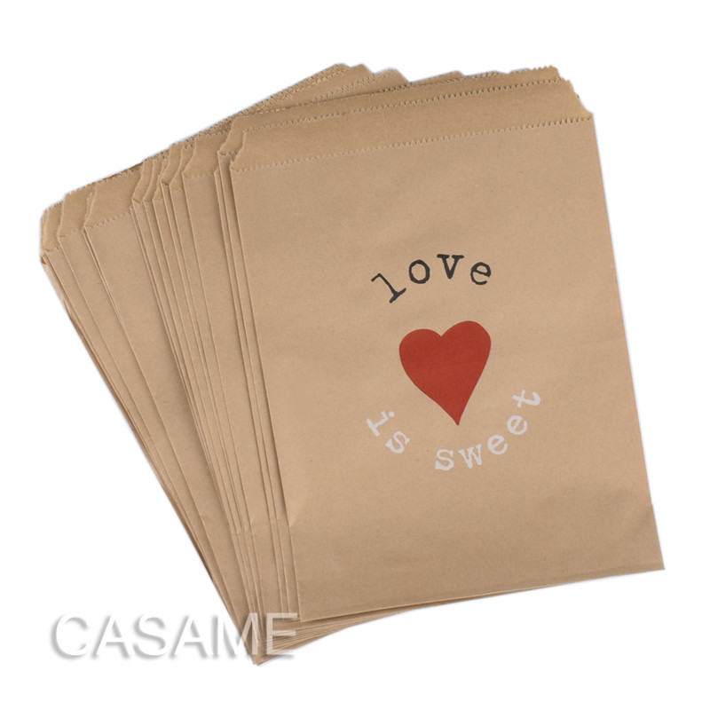 25pcs Kraft Paper Bag Love Is Sweet Treat Favor Gift Bags For Wedding Bride Shower Party Decorations