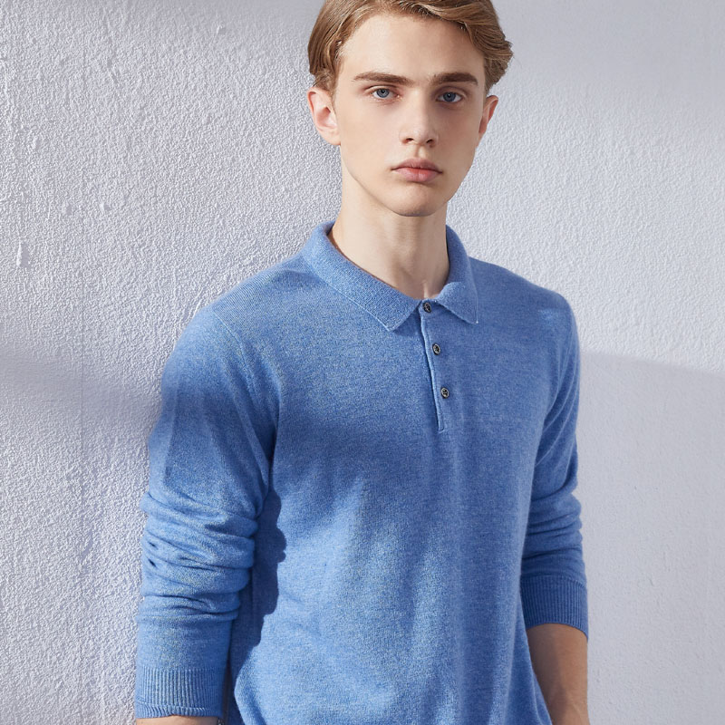 Winter & Autumn Soft Sweaters for man Clothes 100% Cashmere Knit Polo-Neck Pullovers  7Colors Men Jumpers