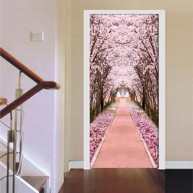 Купить наклейка на дверь из пвх самоклеящаяся водонепроницаемая с розовым картинки цена