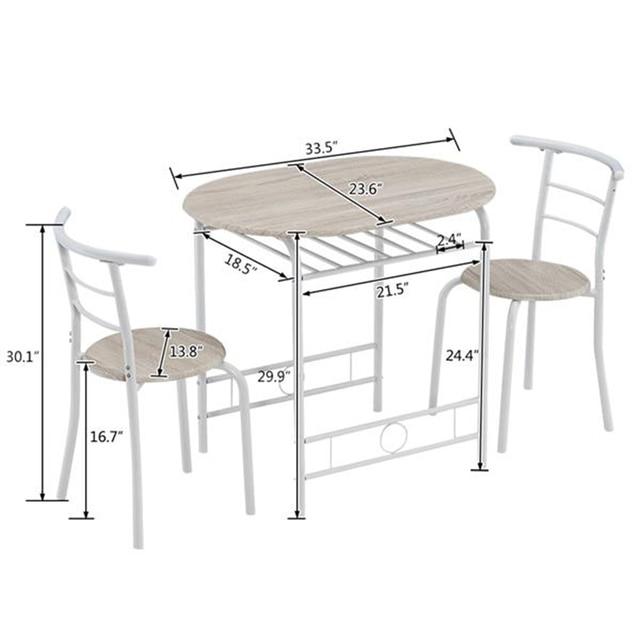 80x53x76cm Oak White Breakfast Table Set  4
