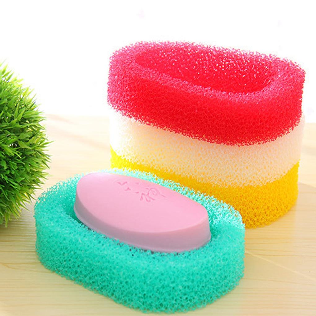 Random Candy Colro Sponge Soap Dish Plate Bathroom Kit Soap Holder Quick Dry Sponge Soap Box Kitchen Bathroom Clean Tool