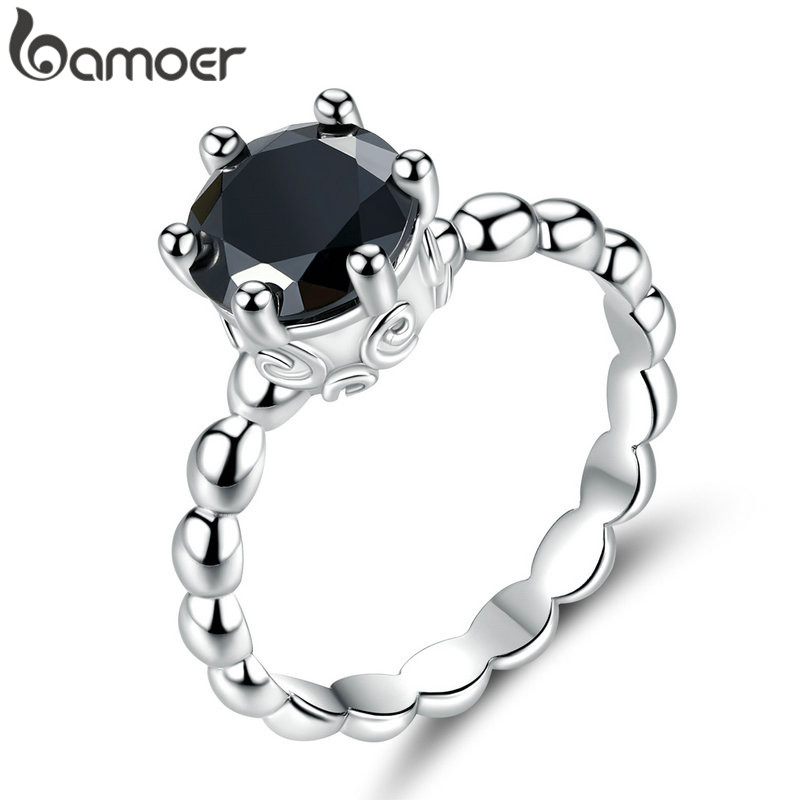 BAMOER Finger-Ring Wedding-Jewelry Silver-Color Black Cubic-Zirconia For Women Fashion