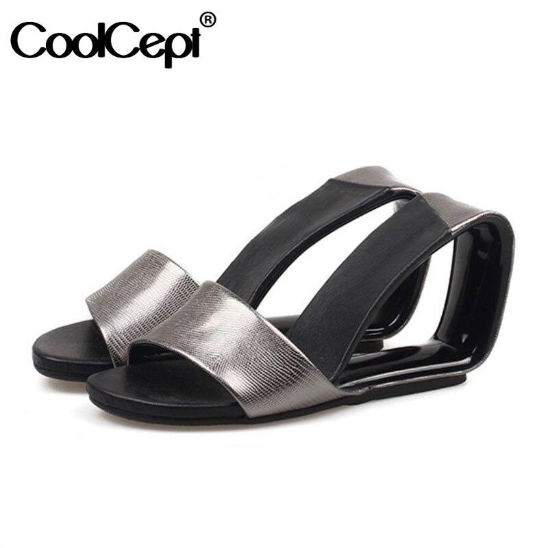 CoolCept 5 Colors Women High Heel Sandals Genuine Leather Brand Slipper Strange Heel Sandals Sexy Women Footwear Size 34-39