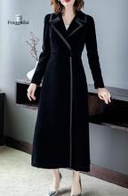 цена на Autumn Winter  Runway Designer  Women Trench Coat Black Velvet   Long Sleeve  overcoat Plus Size