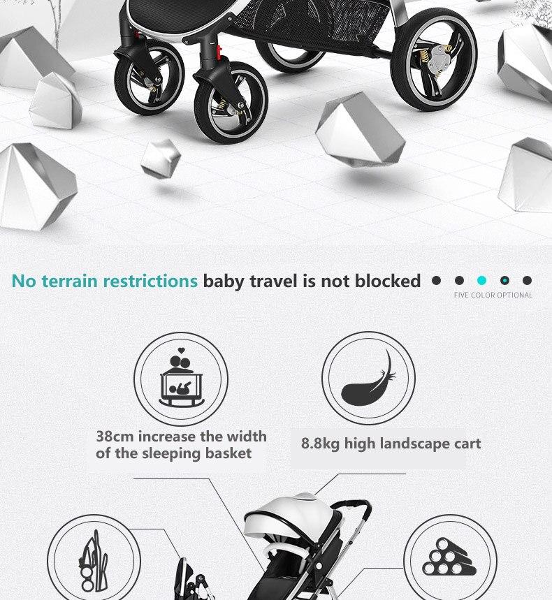 Hotmom alta paisagem carrinho de bebê pode
