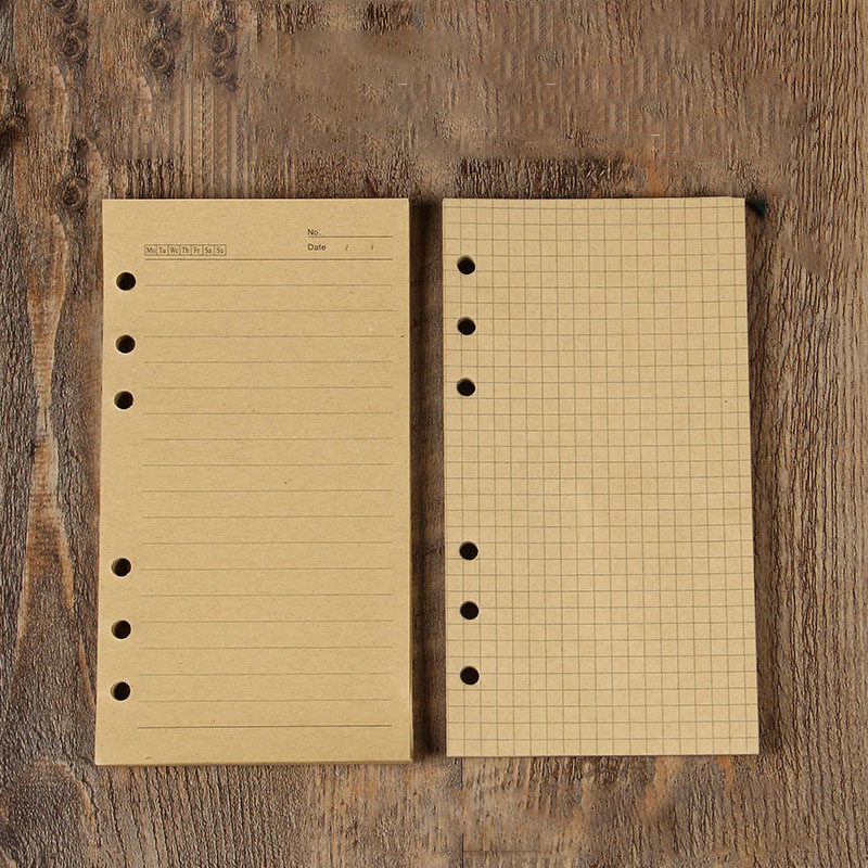 400Sheet Kraft Paper A6 Loose Leaf Notebook Core Spiral Binder Inner Inside Page Diary Weekly Planner Refill School Stationery
