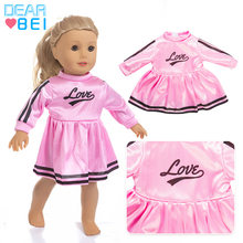 Fashion Dress Cute Pink Dolls Clothes Outfit For 43cm Baby Reborn Doll Accessories Unicorn Jumpers Rompers 18 Inch Doll Clothes(China)