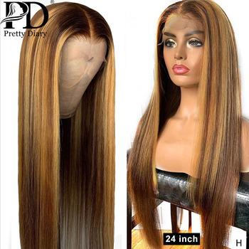 Glueless 13 #215 4 koronki przodu włosów ludzkich peruka prosto podkreślić włosy typu Ombre wstępnie oskubane bielone węzłów brazylijski Remy włosy koronkowe peruki tanie i dobre opinie Pretty Diary long Proste Koronki przodu peruk CN (pochodzenie) Ludzki włos Pół maszyny wykonane i pół ręcznie wiązanej