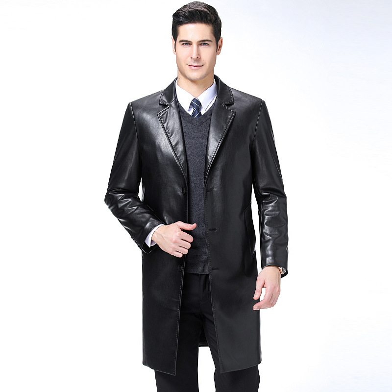 8877 Spring And Autumn Long-style Genuine Leather Garment Men's Suit Collar Sheep Leather Overcoat Men's Leather Trench Coat