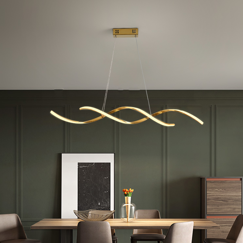 Modern Led Pendant Lights AC85-265V For Dining Kitchen Room Bar Home Deco Pendant Lamp Fixture Gold/Chrome Plated Length90/110cm