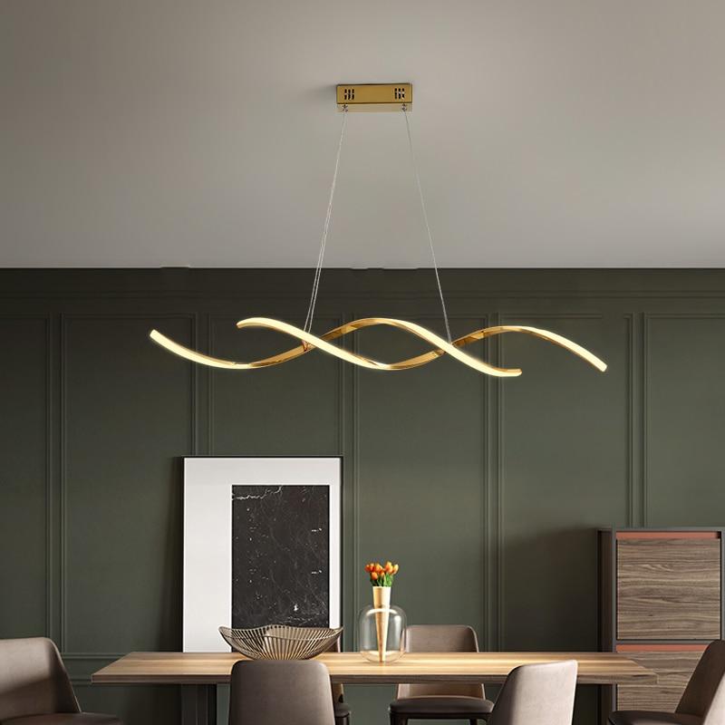 Modern Led Pendant Lights AC85-265V For Dining Kitchen Room Bar Home Deco Pendant Lamp Fixture Gold/Chrome Plated Length90/110cm