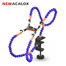 NEWACALOX Multi Soldering Helping Hand Third Hand Tool with 4PCS Flexible Arms Soldeirng Station Holder for PCB Welding Repair