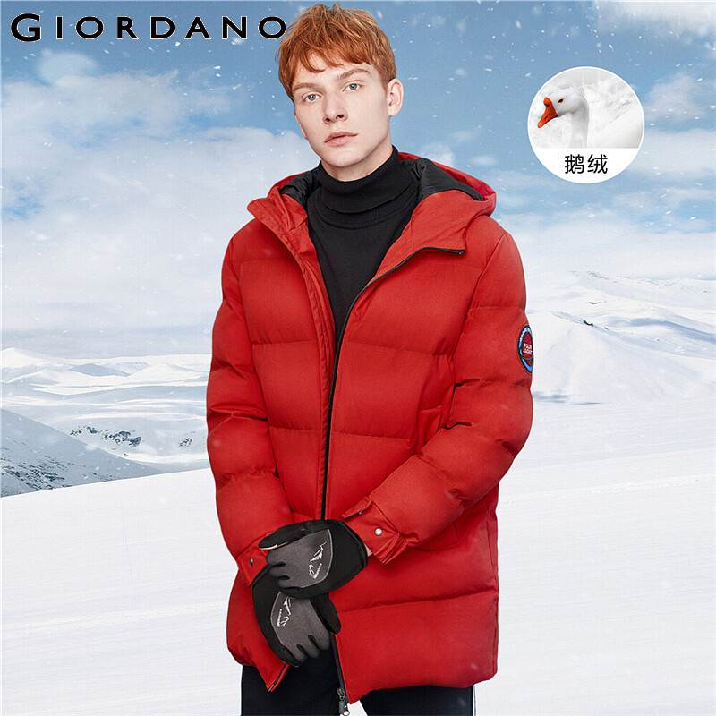 Giordano Men Down Coat Thick Hooded 90% Grey Goose Down Jacket Machine Washable Multi-pocket Solid Doudoune Homme 01079657