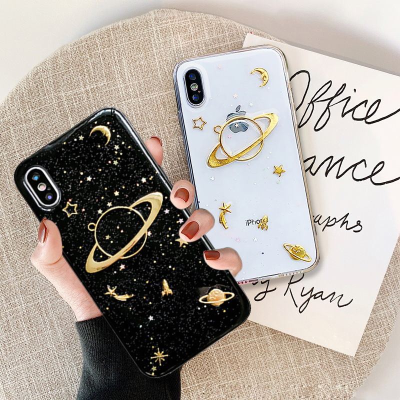Bling Glitter Silicon Phone Cases For iPhone X Case 3D Space Planet Moon 6 6s 7 8 Plus XR XS Max Capa