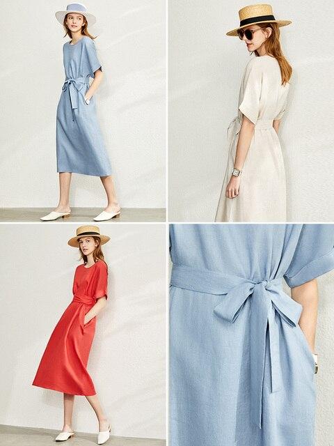 Amii Minimalism New Causal Women's Dress Offical Lady 100%Linen Oneck Loose Belt Calf-length Women's Summer Dress 12140192 5