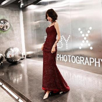 Robe De Soiree Elegant Wine Red Spaghetti Strap Evening Dress Fashion Bling Bling With Train Banquet Prom Mermaid Evening Gown