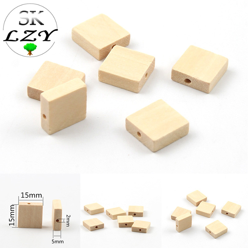 30PCS Natural Wood Beads DIY Wood Color Square Flat Beads Production Crafts Decorations Wholesale 15mm
