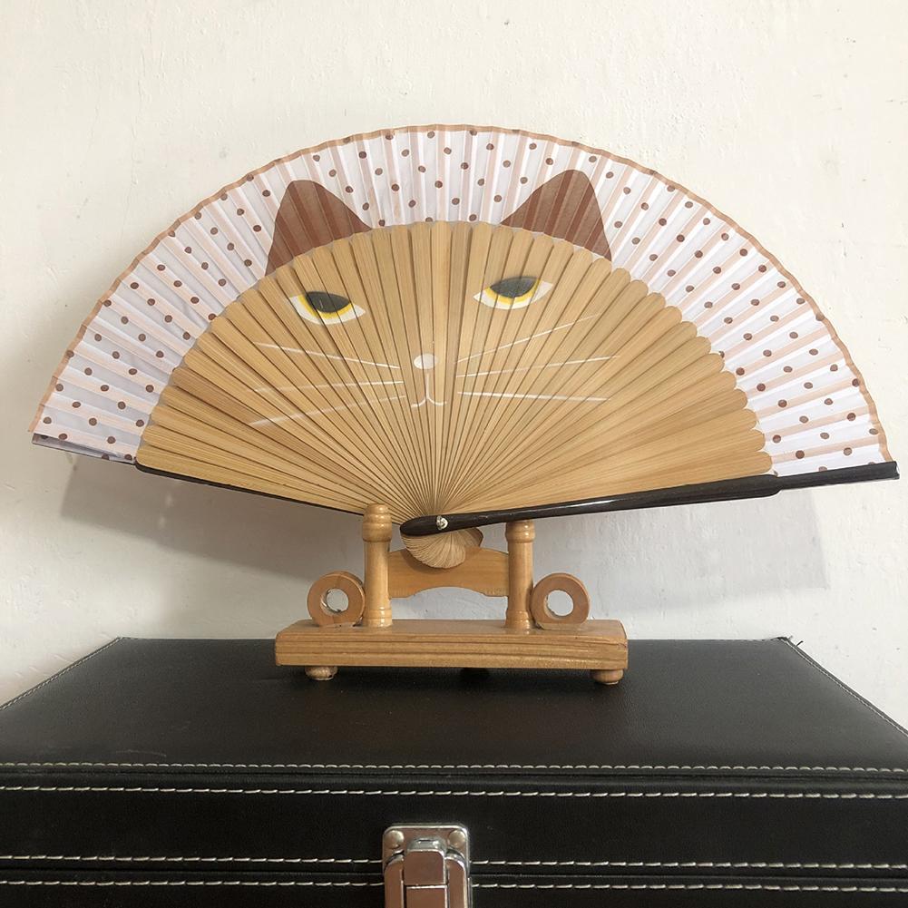 1Pc Cartoon Cat Hand Painted Folding Fan Dancing Craft Supplies Retro H