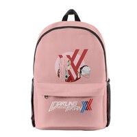 Darling in the franxx de tela Oxford para niños, mochila de hombro estampada con varias cremalleras, informal, escolar