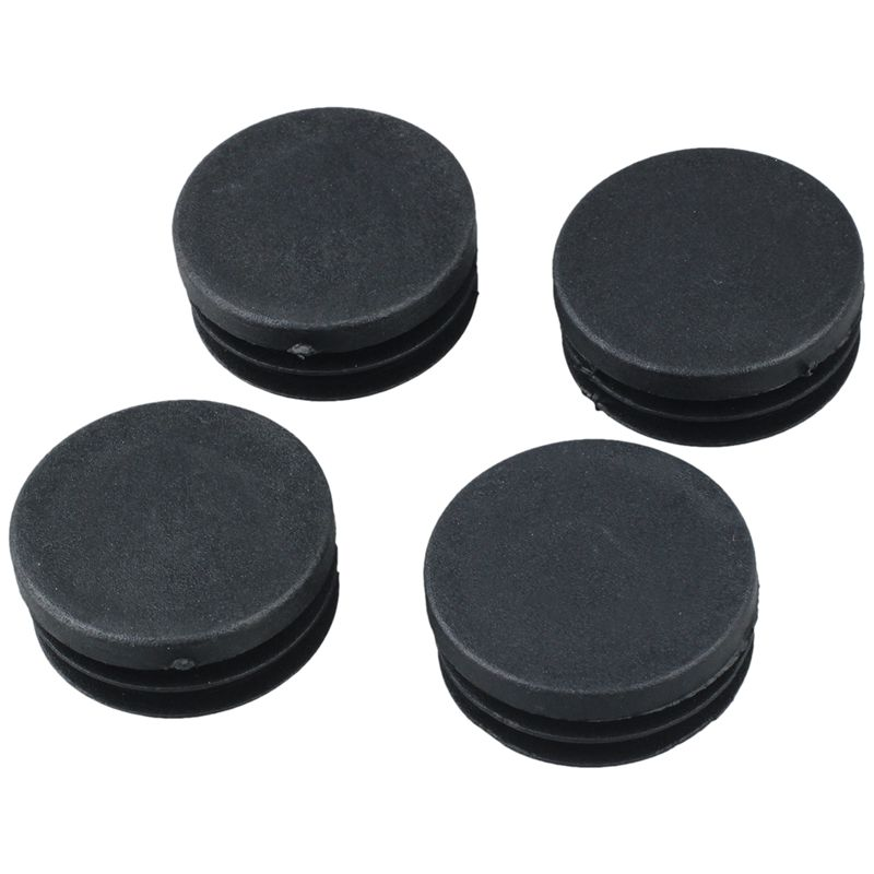 Fashion-4 Pcs Black Plastic 40mm Dia Round Tubing Tube Insert Caps Covers