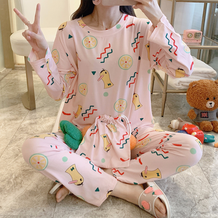 Ins Hot Sale Pajamas For Women Cartoon Cute Duck Print Casual Female Pyjamas Soft Comfortable Cotton Made Good Quality Home Suit