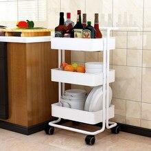 Chariot utilitaire roulant à 3 niveaux chariot de cuisine chariot de stockage roulant avec roue verrouillable et poignée pour cuisine salle de bain bureau