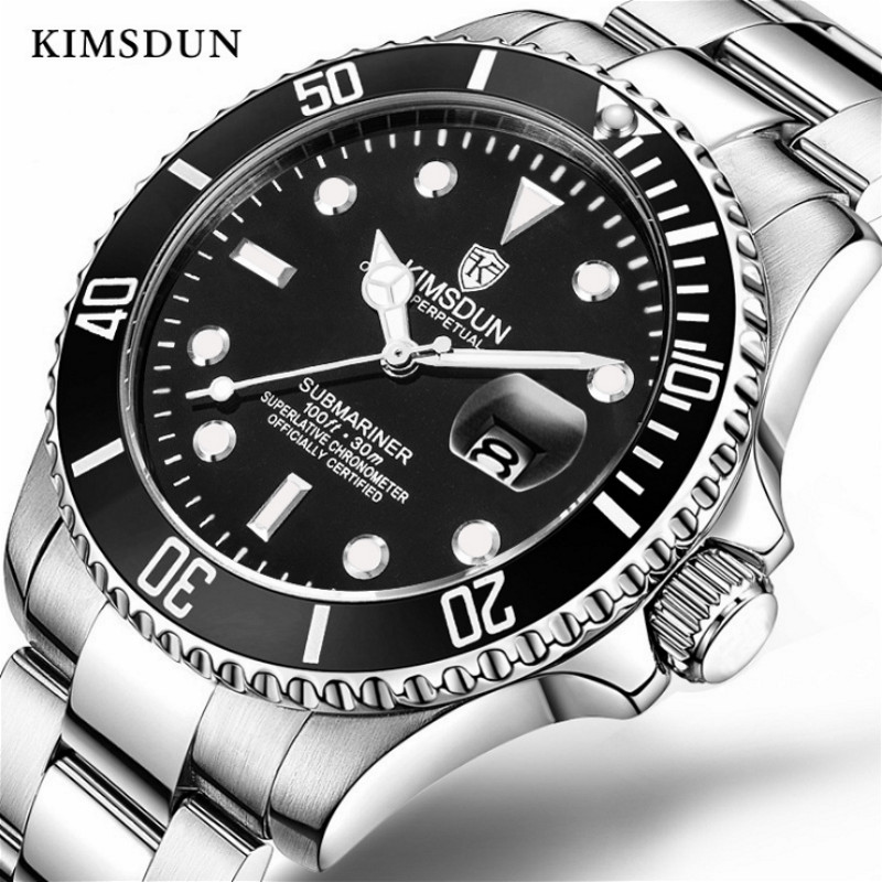 Black Green Male Mechanical Watch Luminous Hands Date Stainless Steel Band Automatic Man Business Sport Watches Montre Homme