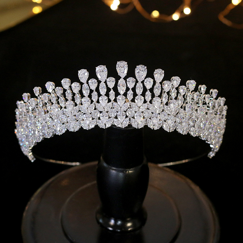 Image 2 - New silver drop Tiara crystal headdress wedding hair accessories 