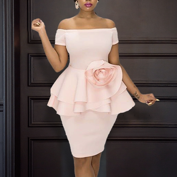 Pink Dress Off Shoulder Ruffle Sweet Lovely Peplum Flower Patchwork Bodycon Women Vestidos Event Occasion Dinner Date Out Robes