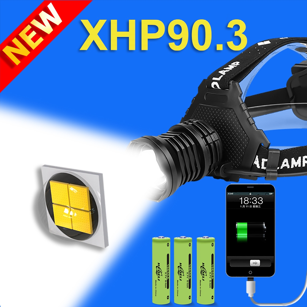 400000 LM XHP90.3 LED Headlamp XHP90.2 High Power LED Headlight Usb 18650 Rechargeable Head Flashlight XHP50.2 Zoom Head Torch 1