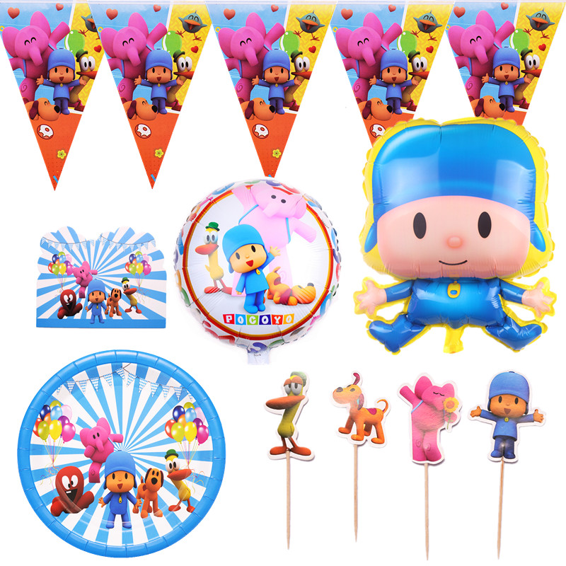POCOYO Kids Birthday Party Supplies Paper Plates Banner Balloon Baby Shower Decoration Disposable Tableware