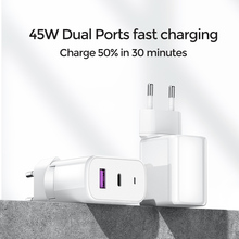 45W Quick Charge 3.0 USB Charging For iPhone Samsung Huawei Xiaomi 2 Port QC 3.0 Turbo Wall Charger US EU UK Plug Adapte Joyroom