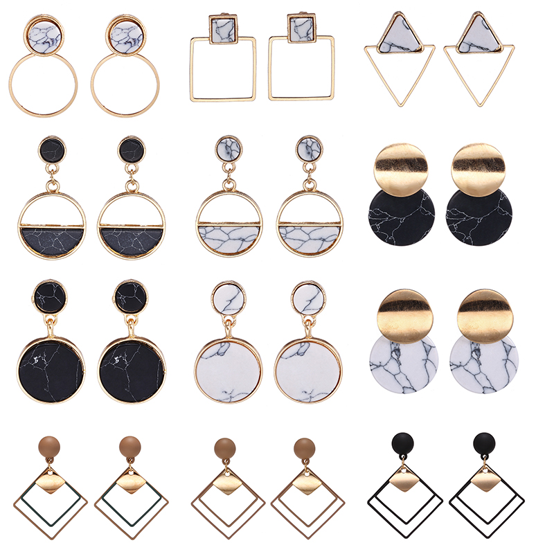 New Fashion Statement Earrings For Women With White/Black Natural Stones Handmade Trendy Jewerly Female Modern Korea Earring
