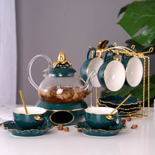 Стеклянный чайник и керамическая зеленая крышка подсвечник с