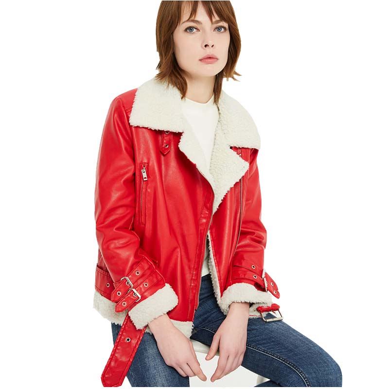 Fall Winter Red Sherpa Faux   Leather   Biker Jacket for Women Cute Girls Black Sherpa Lined PU   Leather   Motocycle Jacket Coat