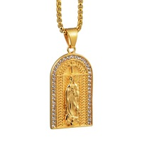 Virgin Mary Necklace Gold Color Imitation Crystal Titanium Steel Necklace Women Men Fashion Pendant Jewelry Hanging Ornaments