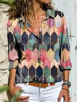 Fashion long-sleeved women's shirt casual printing plus size shirt ladies top 1