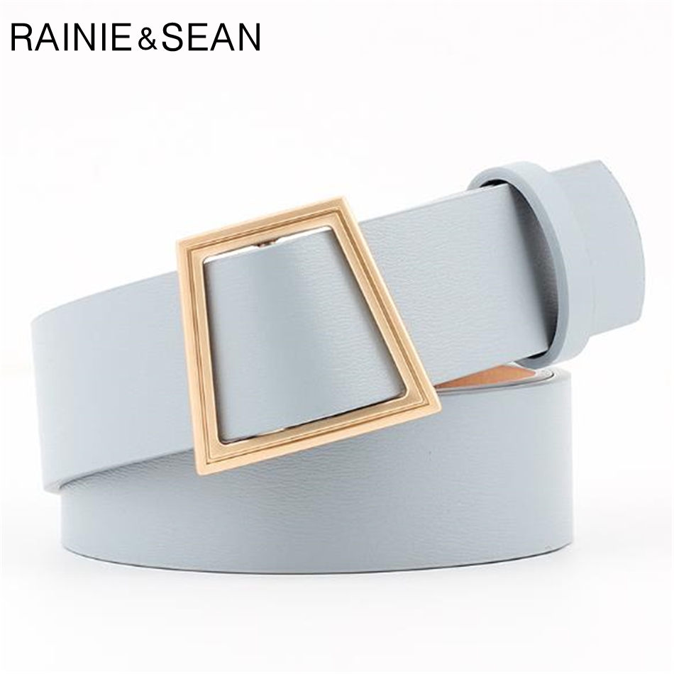 RAINIE SEAN Belt Without Holes Women Sky Blue Ladies Accessories Belts White Pink Brown Black Female Fashion No Holes Belt