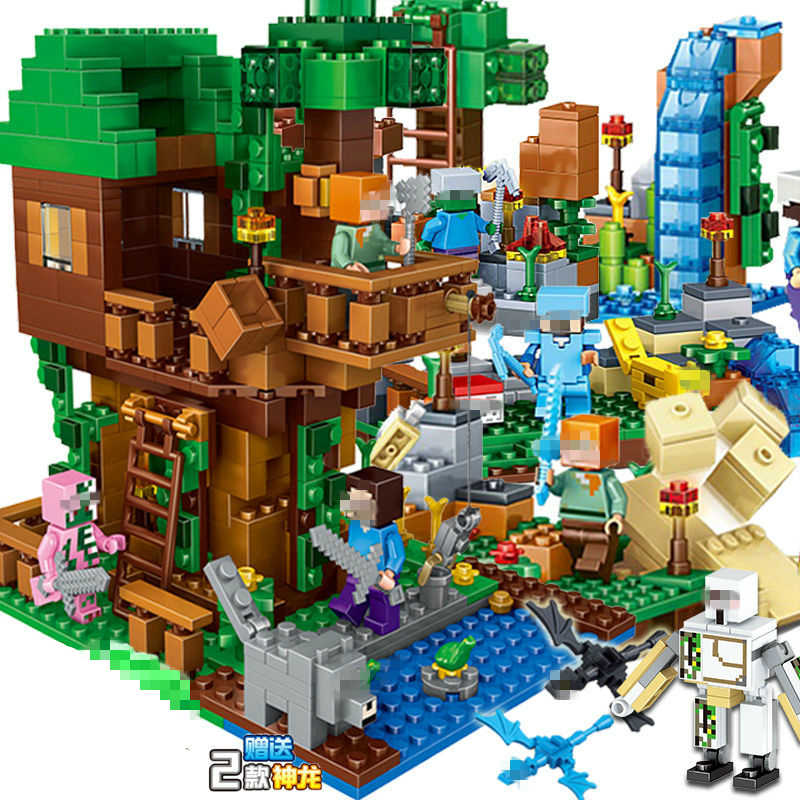 Creative Building Blocks Model my world Legoinglys my Mountain Cave Elevator Bricks Toys For Children gifts