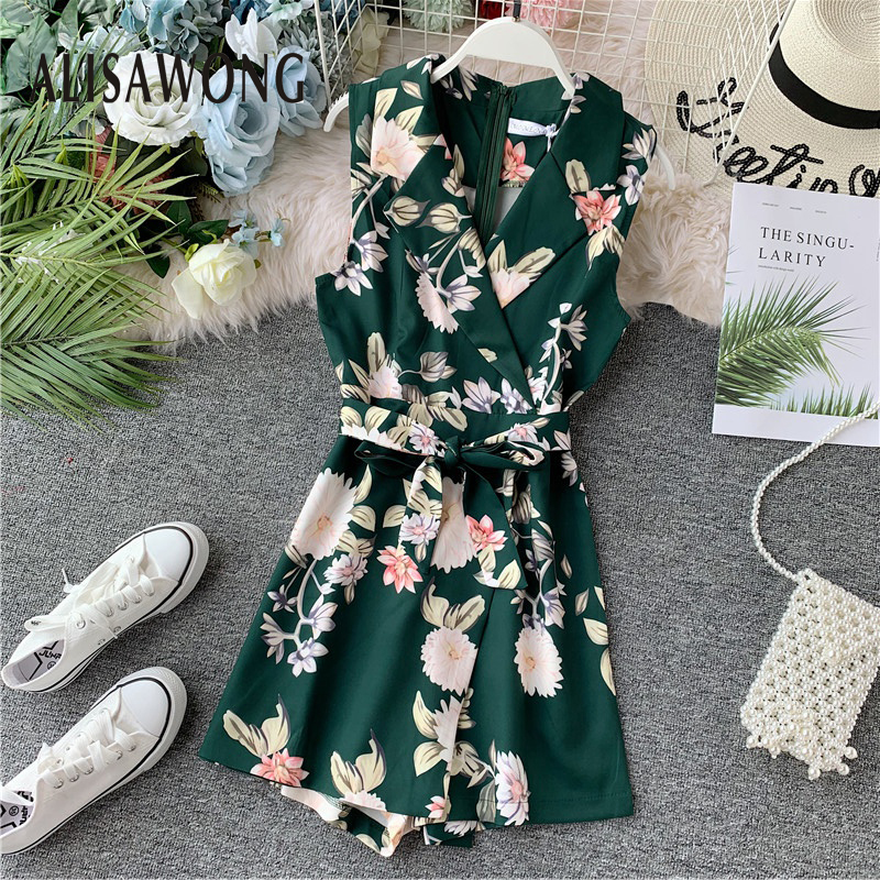 2020 New Fashion Bohemian Playsuit Women Floral Printed Rompers Summer Sleeveless V-neck Shorts Ropa Mujer Ladies Belt Overalls