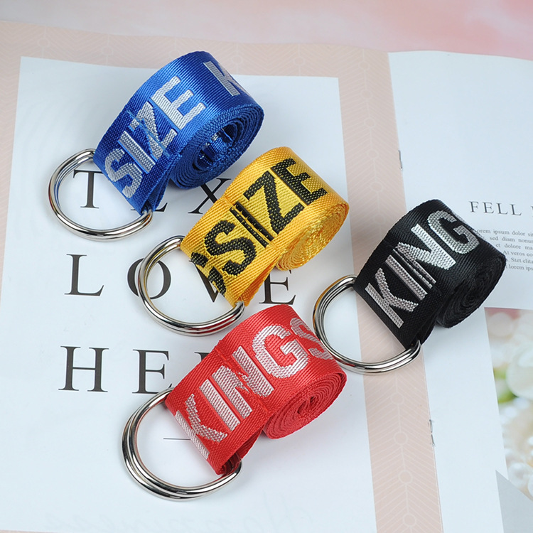 Fashion New Harajuku Unisex Canvas Belt Printing Letter D Ring Double Buckle High Quality Casual All-match Jeans Belt