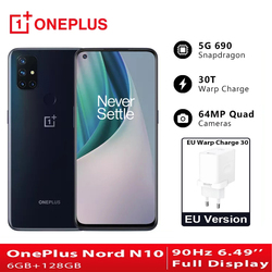 EU Version OnePlus Nord N10 5G Telefones Celulares 6GB 128GB Snapdragon 690 Smartphone 90Hz Display 64MP Quad Cams NFC