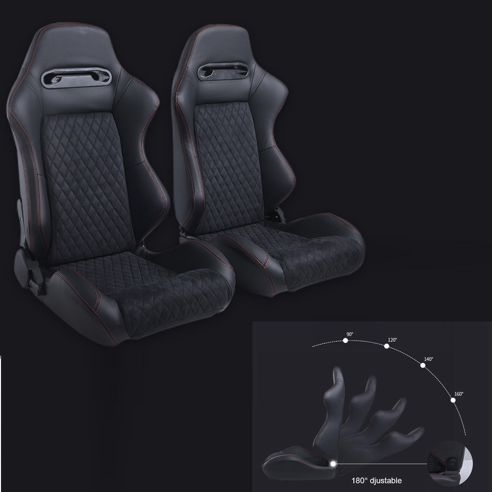 Free To USA 2 X Reclinable Red Stitching Black Suede Left/Right Black JDM Sport Racing Bucket Seats Slider JBR1035BR