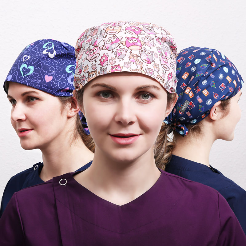 Women Cute Owl Print Scrub Caps Mask Surgical Hats Medical Hat Tieback Polyester Skull Ground Cap European Style Nurse Hats