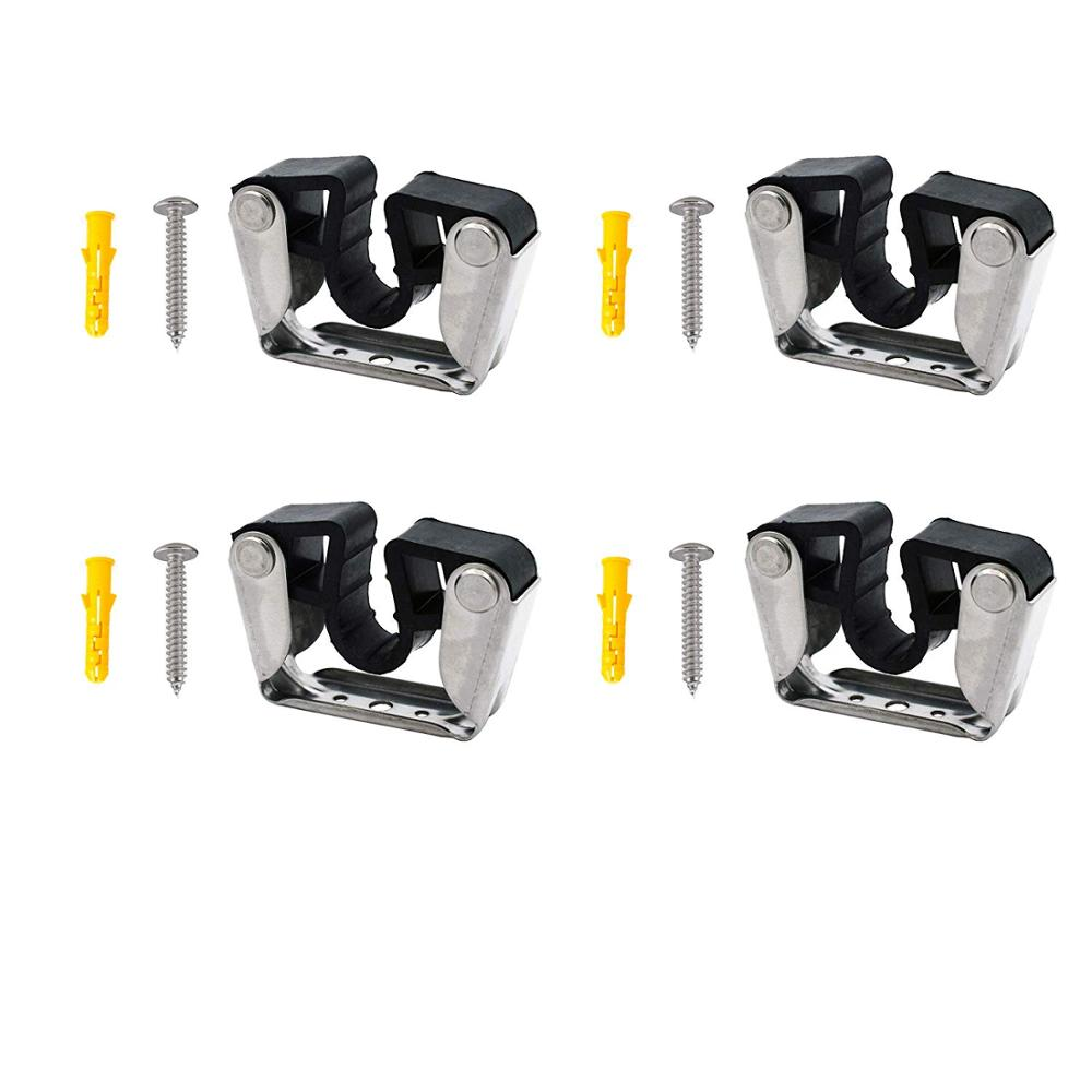 Pole Light Storage Clips Boat Hook Clamp Holder General Purpose Bracket Clip Fit From 3/4 Inch To 1-3/16 Inch Pole For Paddle(4)