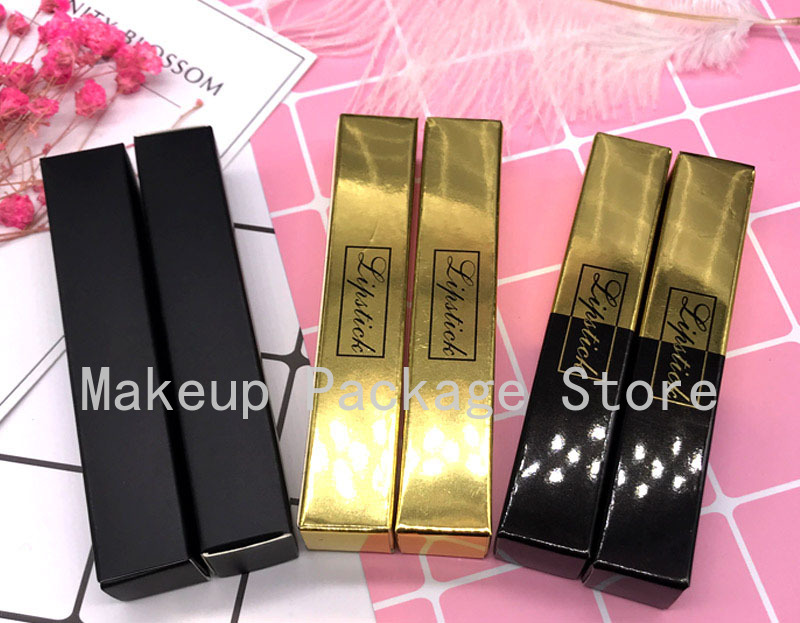 50/100pcs 18*18*102mm Empty Cosmetic Gold Packing Box for Lipstick Tube Black Paper Packing Boxes for Lipgloss Tube Accessories image