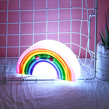 Cute Silicone Night Light Rainbow Wall Lamps Battery Powered For Kids Rooms Decor Kids Bedroom Decor Table Party Decorative(China)